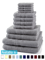 12 Piece 500GSM Towel Bale - 4 Face Cloths, 4 Hand Towels, 2 Bath Towels, 2 Bath Sheets