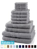 12 Piece 500GSM Towel Bale - 4 Face Cloths, 4 Hand Towels, 2 Bath Towels, 2 Bath Sheets
