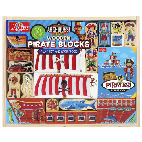 ArchiQuest Wooden Pirate Blocks Playset & Storybook | T.S. Shure