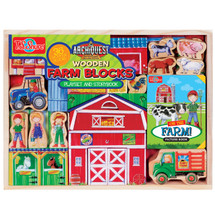 ArchiQuest Wooden Farm Blocks Playset & Storybook | T.S. Shure