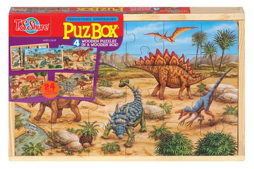 PuzBoxÇ___Ç®¶Ç®¶œÇ__Ç®¶½ Prehistoric Dinosaurs: Wooden Puzzles in a Wooden Box (4 Puzzles) | T.S. Shure