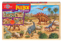 PuzBox  Prehistoric Dinosaurs: Wooden Puzzles in a Wooden Box (4 Puzzles) | T.S. Shure