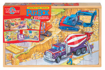 PuzBox  Construction Vehicles: Wooden Puzzles in a Wooden Box (4 Puzzles) | T.S. Shure