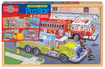 PuzBox  Emergency Vehicles: Wooden Puzzles in a Wooden Box (4 Puzzles) | T.S. Shure