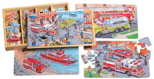 PuzBoxÇ___Ç®¶Ç®¶œÇ__Ç®¶½ Emergency Vehicles: Wooden Puzzles in a Wooden Box (4 Puzzles) | T.S. Shure