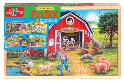 PuzBoxÇ___Ç®¶Ç®¶œÇ__Ç®¶½ Country Farm: Wooden Puzzles in a Wooden Box (4 Puzzles) | T.S. Shure