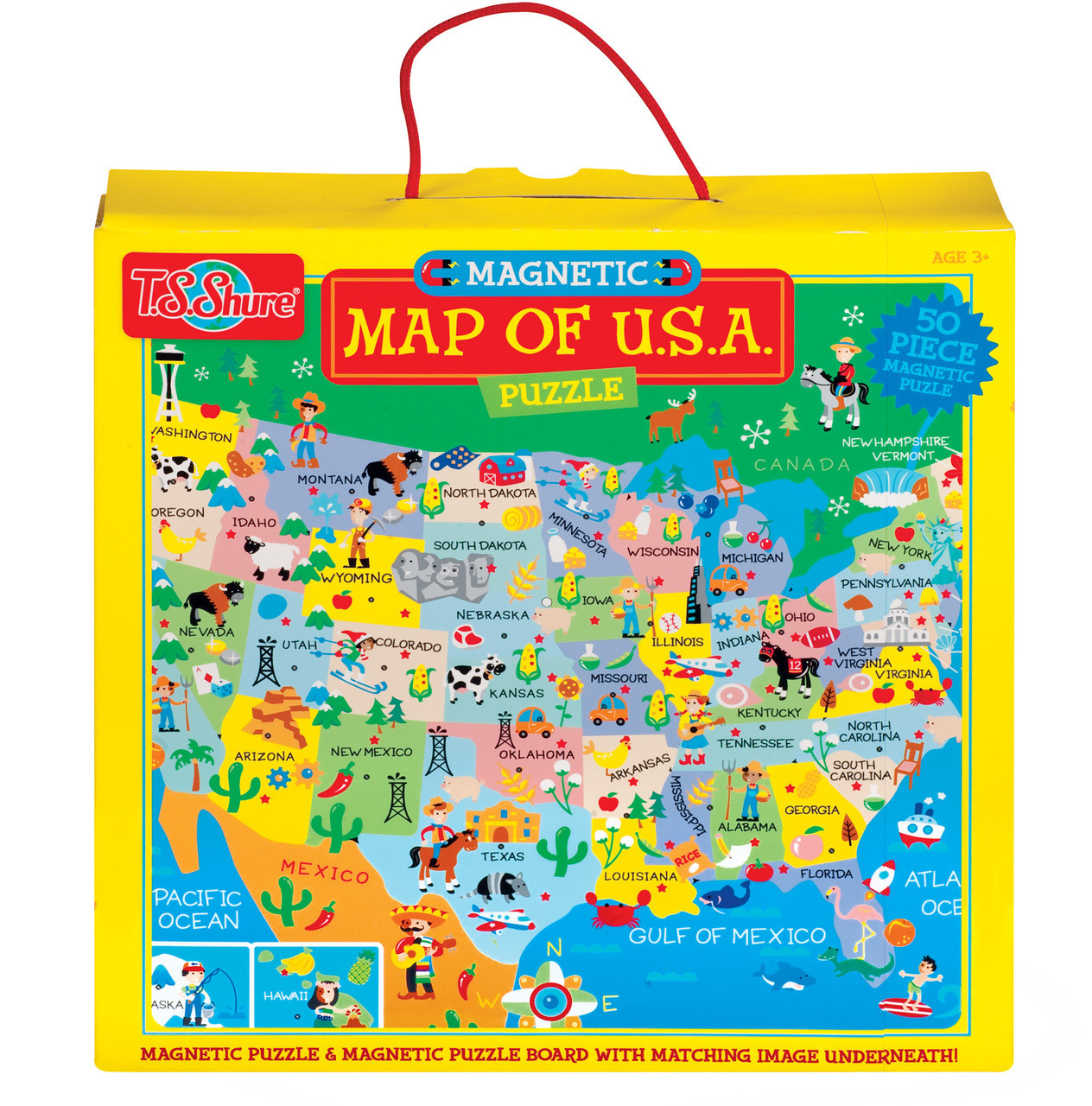 Map Of The U S A Magnetic Puzzle T S Shure