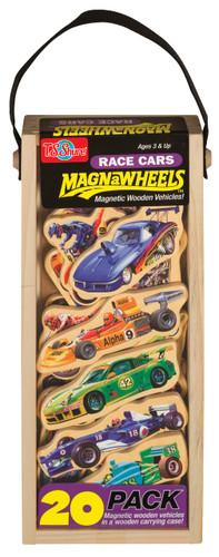 Race Cars Wooden Magnets - 20 Piece MagnaFun Set | T.S. Shure