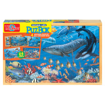 PuzBox  Ocean Life: Wooden Puzzles in a Wooden Box (4 Puzzles) | T.S. Shure