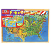 PuzBoxÇ___Ç®¶Ç®¶œÇ__Ç®¶½ U.S. & World Map: 2 Puzzles in Jumbo Box | T.S. Shure