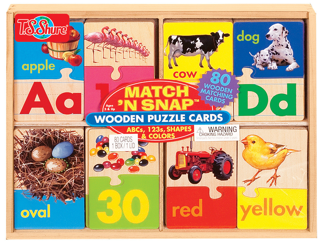 Match N' Snap Wooden Puzzle Cards
