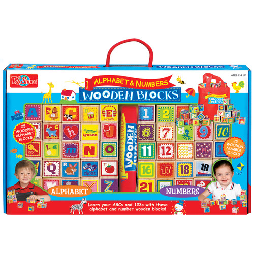 Alphabet & Numbers Cutesie Wooden Blocks | T.S. Shure