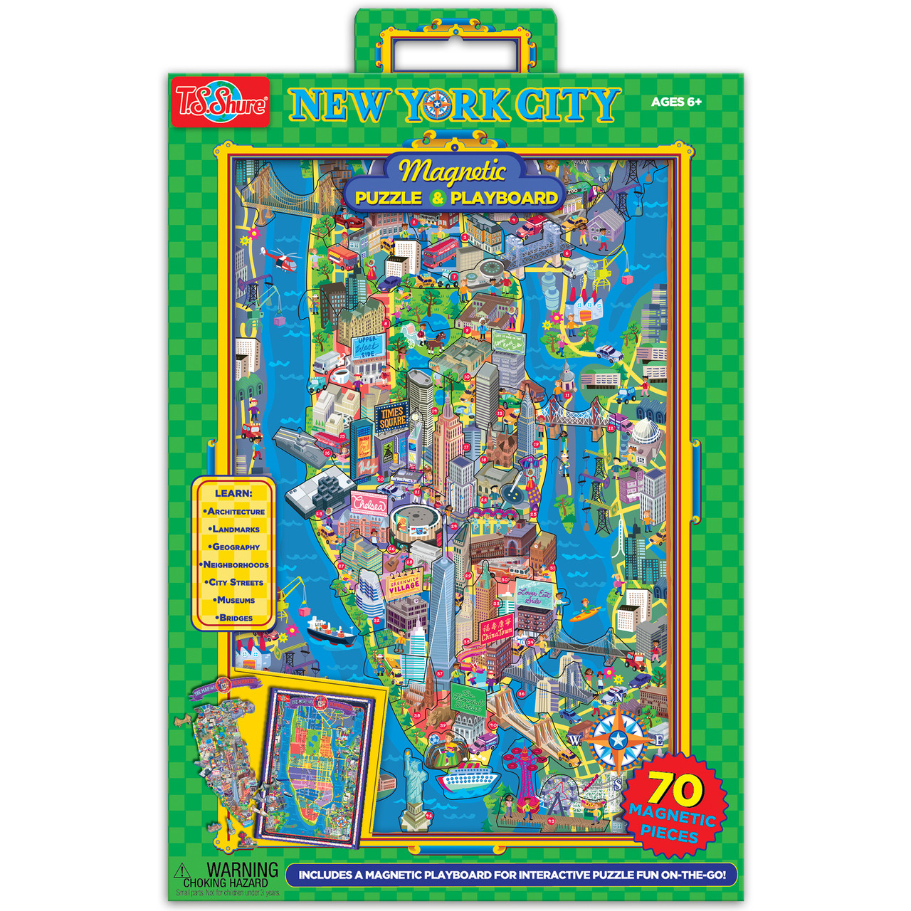 Map Of New York City With Landmarks.Map Of New York City Magnetic Puzzle Playboard