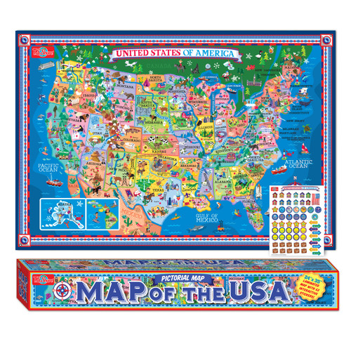 Pictorial Map of the U.S.A. - Laminated Poster with Stickers | T.S. ...