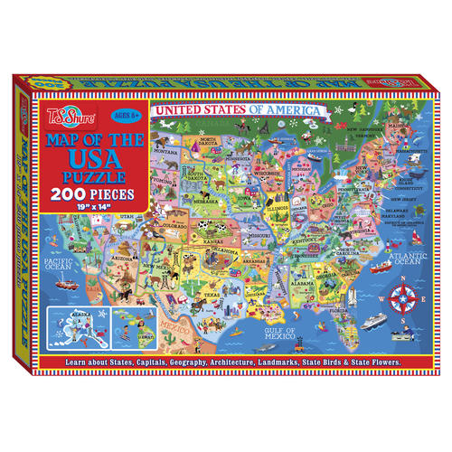 Map of the U.S.A Box Puzzle (200 Pieces) | T.S. Shure