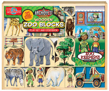 ArchiQuest Wooden Zoo Blocks Play Set & Storybook | T.S. Shure