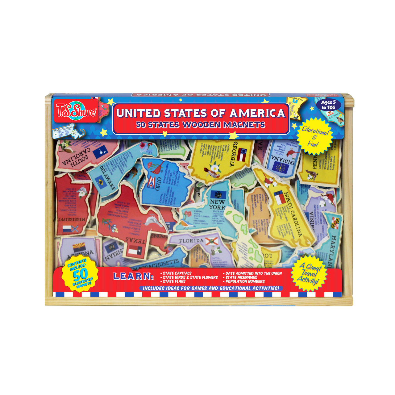 United States of America: 50 States Wooden Magnets