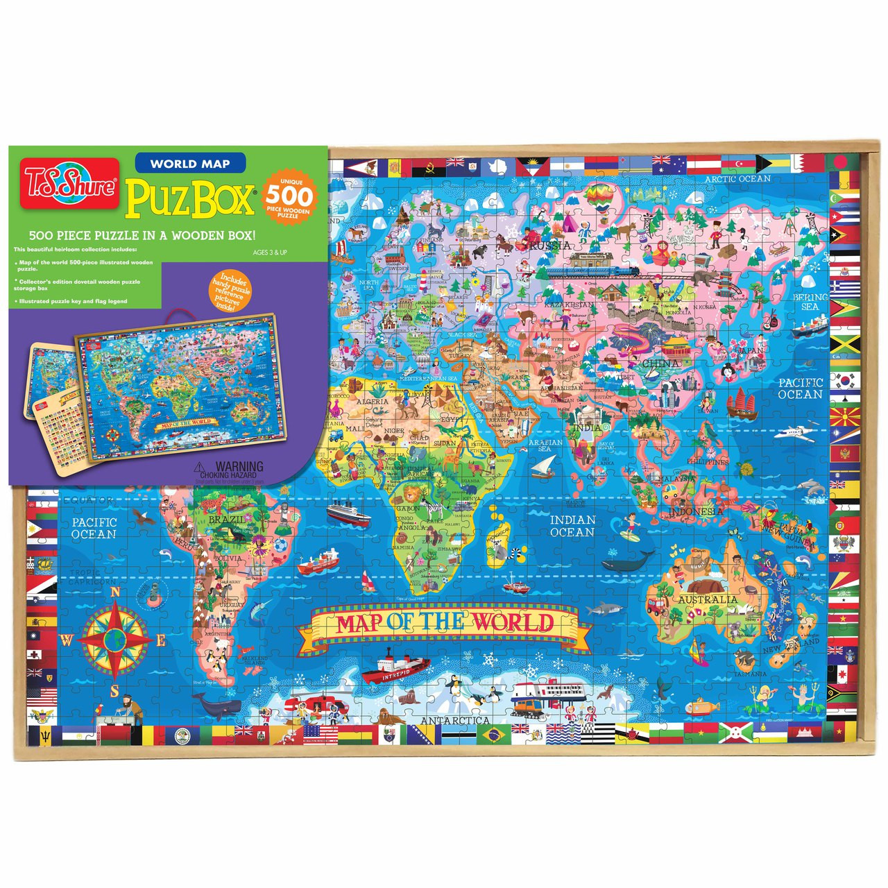 PuzBox Map of the World Wooden Puzzle in a Wood Box