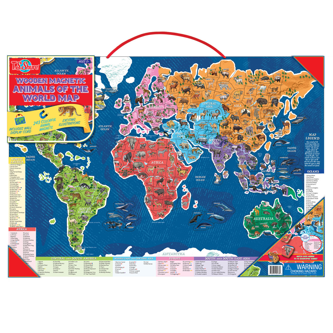 Wooden Magnetic Animals Of The World Map Puzzle T S Shure