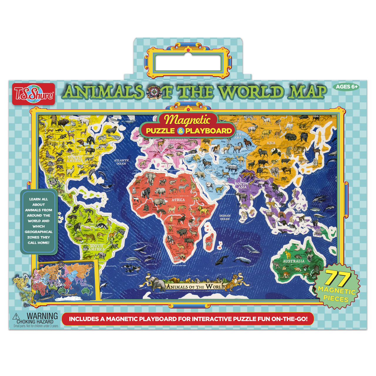 Animals Of The World Map Magnetic Puzzle Playboard T S Shure