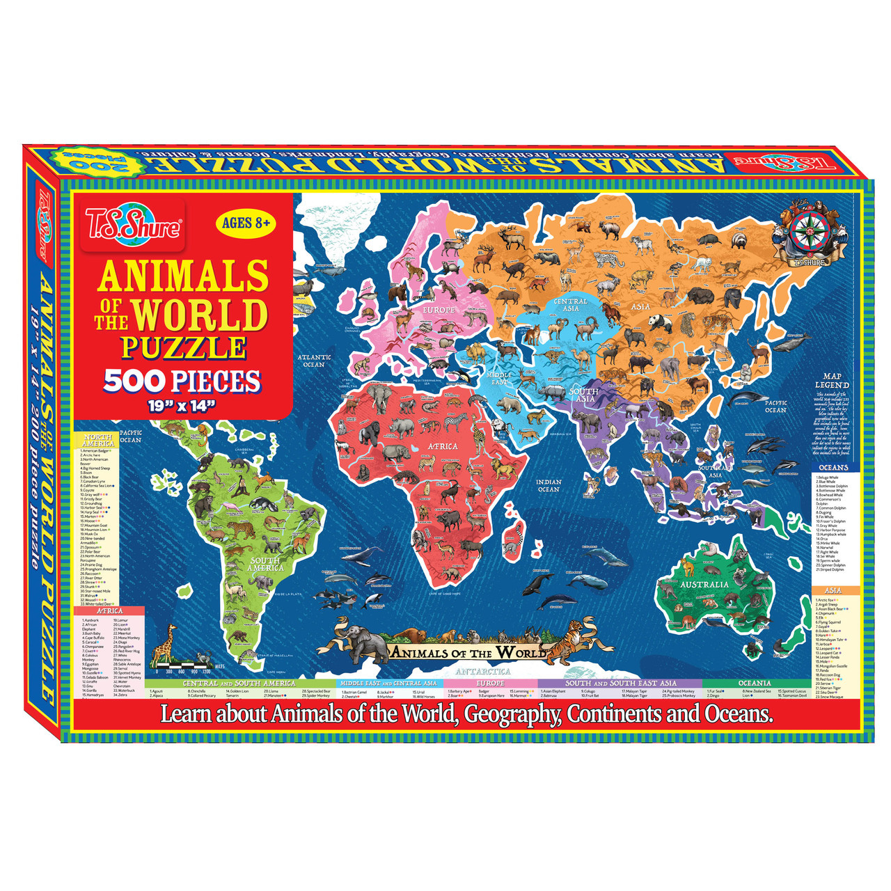 Animals of the World Jigsaw Puzzle (500-Pieces) | T.S. Shure