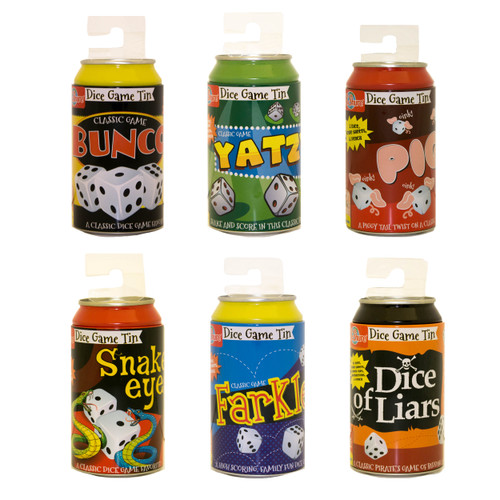 Tin Can Dice Games 6-Piece Assortment | T.S. Shure