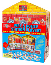 Fire & Police Station Magnetic Tin Playset