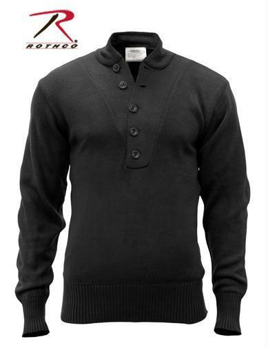 G.I. Style 5-Button Acrylic Sweater - Black 6368
