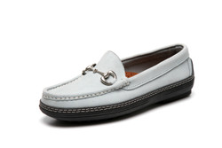 Women's handsewn Bit Driver Loafer in blue/gray Nubuck leather.