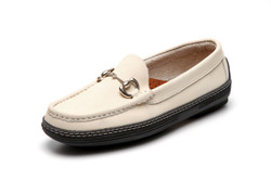 Women's handsewn Bit Driver Loafer in white Nubuck leather.