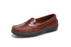 Women's handsewn Penny Driver Loafer in dark brown leather.