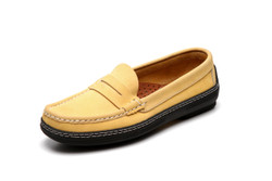 Women's handsewn Penny Driver Loafer in yellow Nubuck leather.