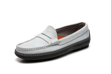 Women's handsewn Penny Driver Loafer in blue/gray Nubuck leather.