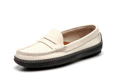 Women's handsewn Penny Driver Loafer in white Nubuck leather.