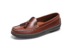 Women's handsewn Tassel Driver Loafer in dark brown leather.