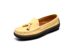 Women's handsewn Tassel Driver Loafer in yellow Nubuck leather.