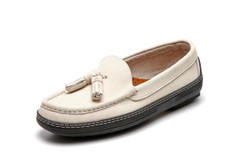 Women's handsewn Tassel Driver Loafer in white Nubuck leather.