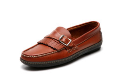 Men's handsewn Buckle Kilt Driver Loafer in Brown leather.