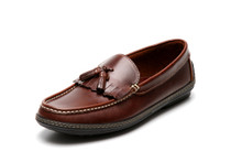 Men's handsewn Tassel Kilt Driver Loafer in Dk. Brown leather.