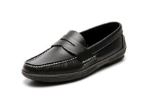 Men's handsewn Penny Driver Loafer in black leather.