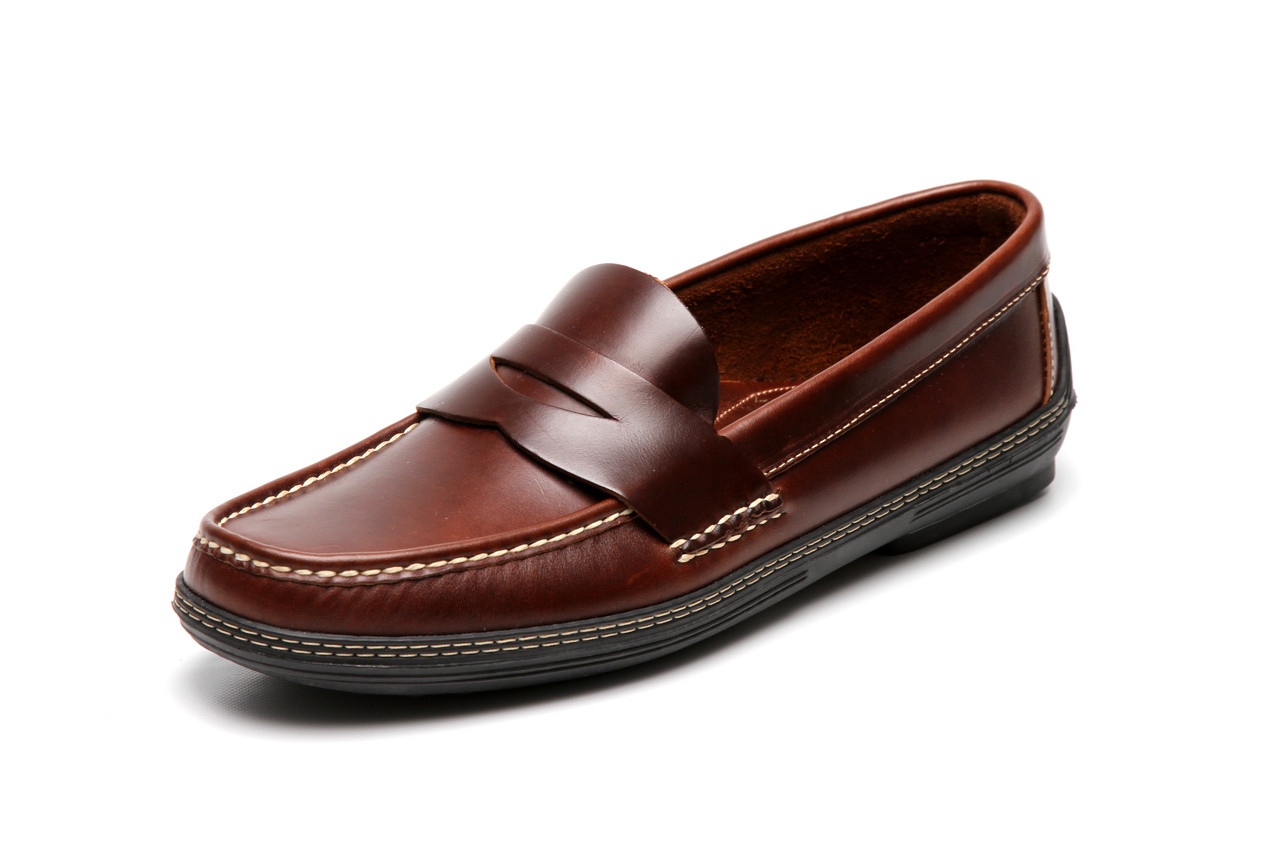 ae229444846c Men s handsewn Penny Driver Loafer in dk. brown leather.