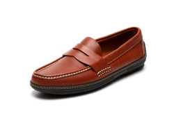 Men's handsewn Penny Driver Loafer in brown leather.