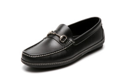 Men's handsewn Bit Driver Loafer in black leather.