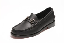 Men's Handsewn Silver Bit Loafer, with Black Leather Outsole, Black