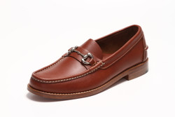 Men's Handsewn Silver Bit Loafer, with Natural Leather Outsole, Brown
