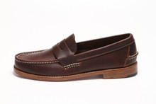 Side view, men's Handsewn Penny Loafer, with Natural Leather Outsole, Dark Brown