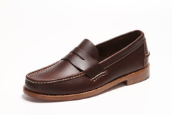 Handsewn Penny Loafer, with Natural Leather Outsole, Dark Brown
