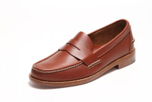 Men's Handsewn Penny Loafer, with Natural Leather Outsole, Brown