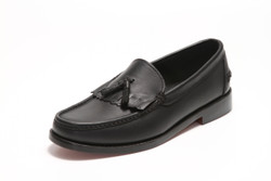 Men's Handsewn Tassel Kilt Loafer, with Black Leather Outsole, Black