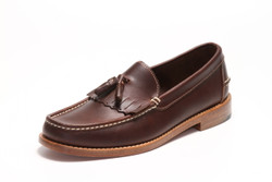 Men's Handsewn Tassel Kilt Loafer, with Natural Leather Outsole, Dark Brown